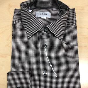 Eton Brown Grey Check Slim Fit Shirt